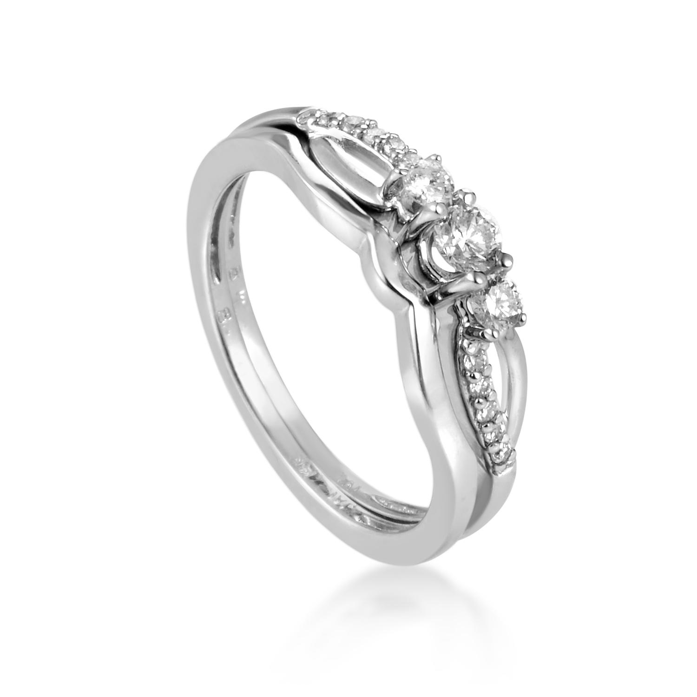 14K White Gold Bridal Diamond Ring Set BR1027W