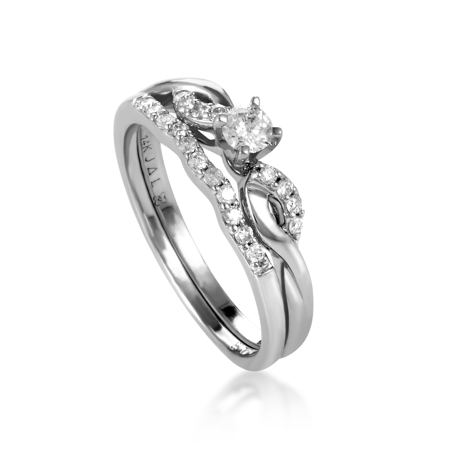 14K White Gold Diamond Bridal Set BR126W