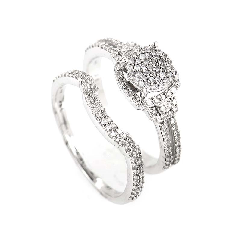 Glittering 14K White Gold Bridal Set