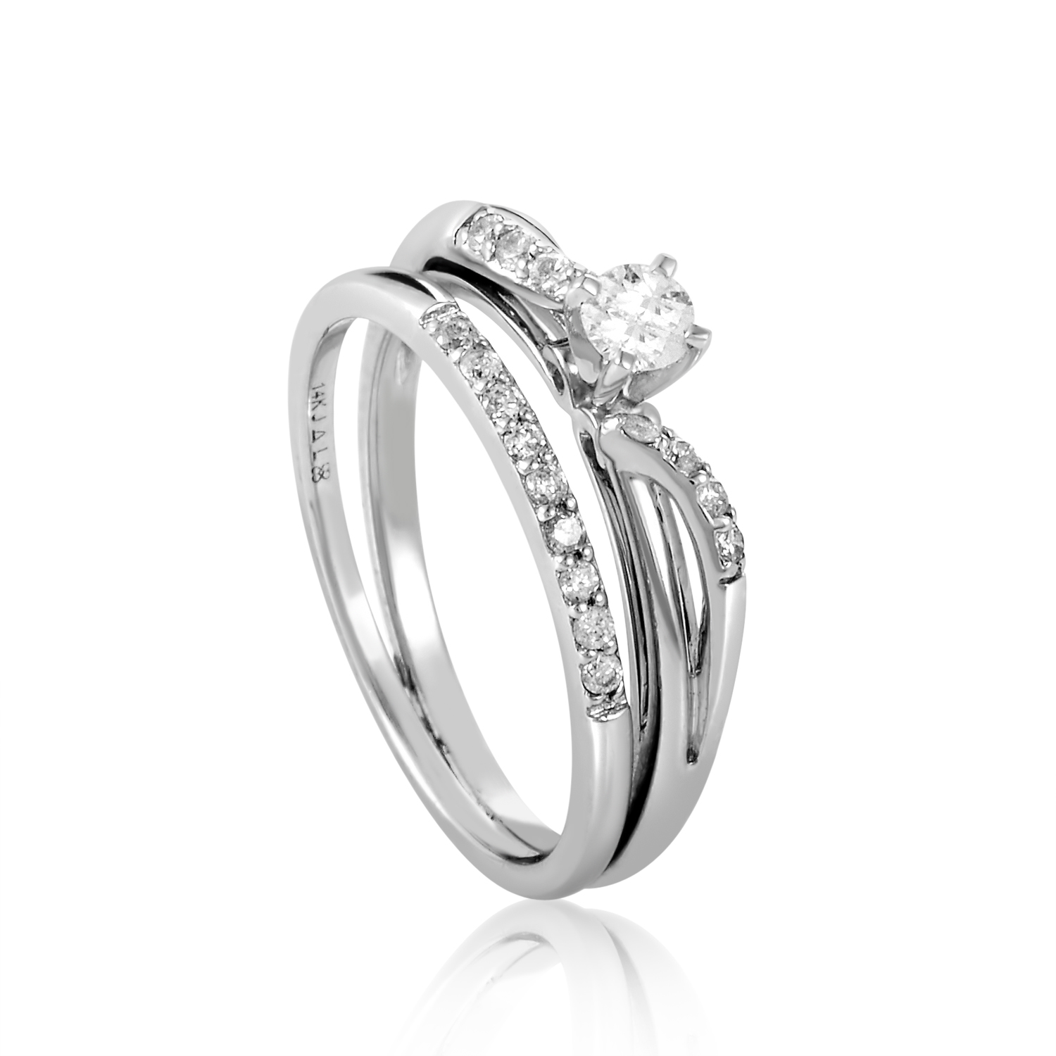 14K White Gold Diamond Bridal Set BR206W