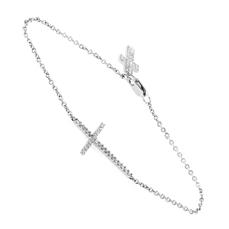 14K White Gold Diamond Cross Bracelet BR4-10063W