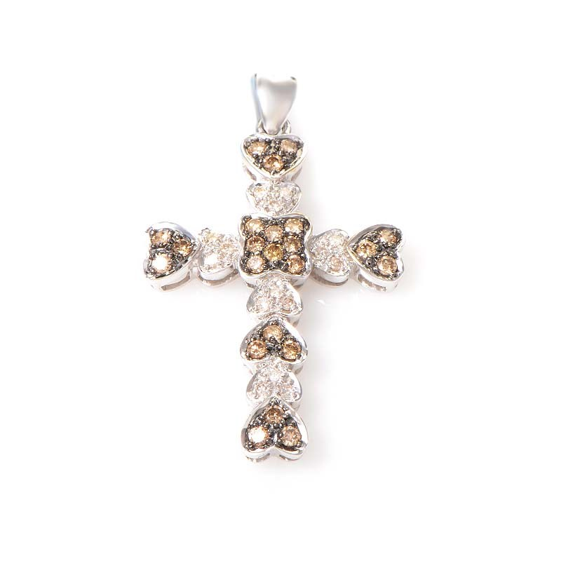 Womens 14K White Gold Brown and White Diamond Cross Pendant