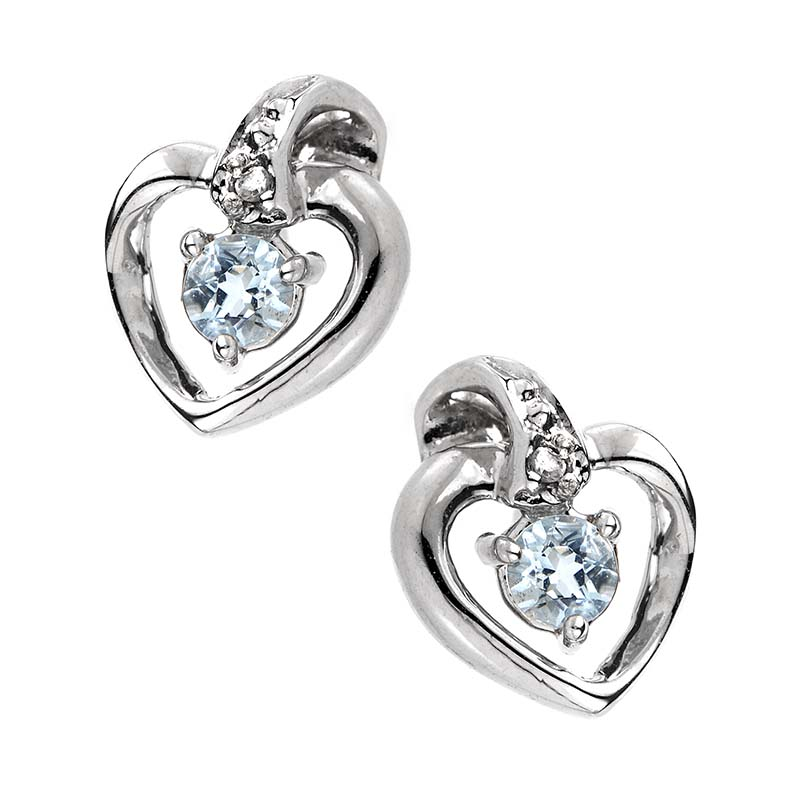 14K White Gold Amethyst & Diamond Heart Earrings