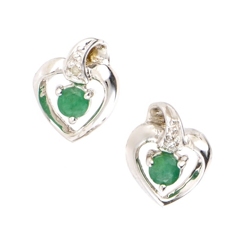 14K White Gold Emerald & Diamond Heart Earrings