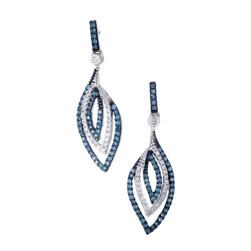 14K White Gold Blue & White Diamond Drop Earrings E1505G005