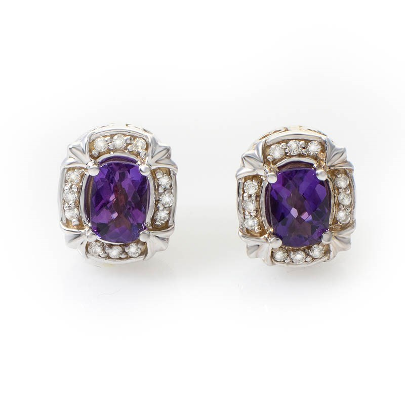 Fancy 14K White Gold Amethyst & Diamond Earrings E1876WA