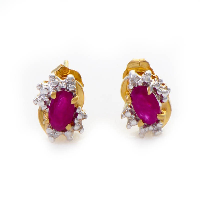 14K Yellow Gold Diamond & Ruby Earrings E2791YR