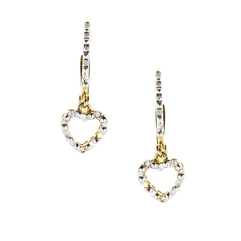 14K Yellow Gold & Diamond Heart Drop Earrings E7312