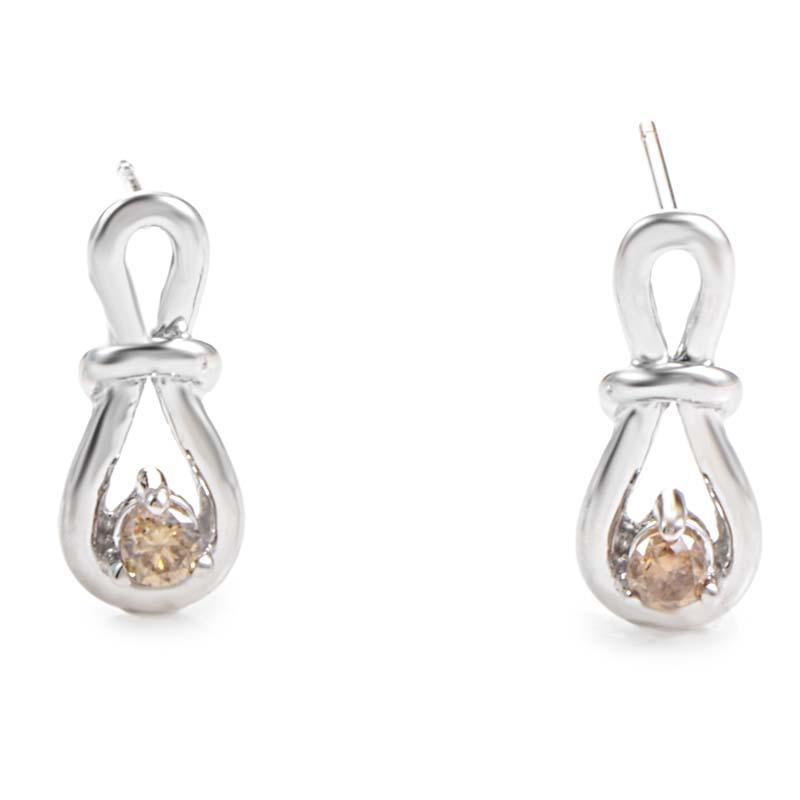 14K White Gold Brown Diamond Loop Earrings E9078W-BRN