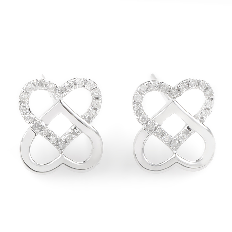 14K White Gold & Diamond Overlapping Heart Earrings E9746W