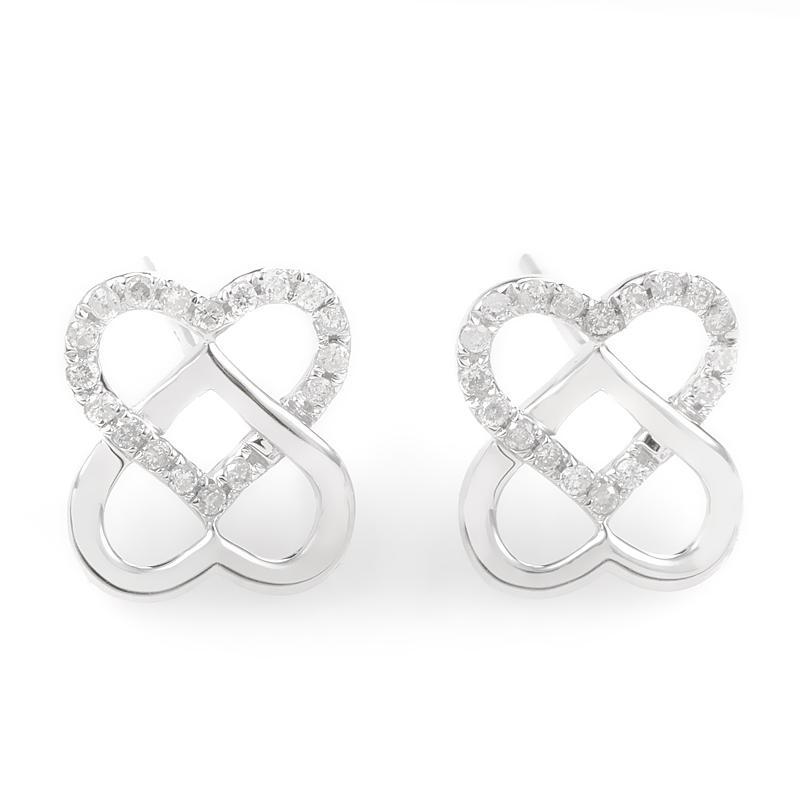 14K White Gold & Diamond Overlapping Heart Earrings E9746W