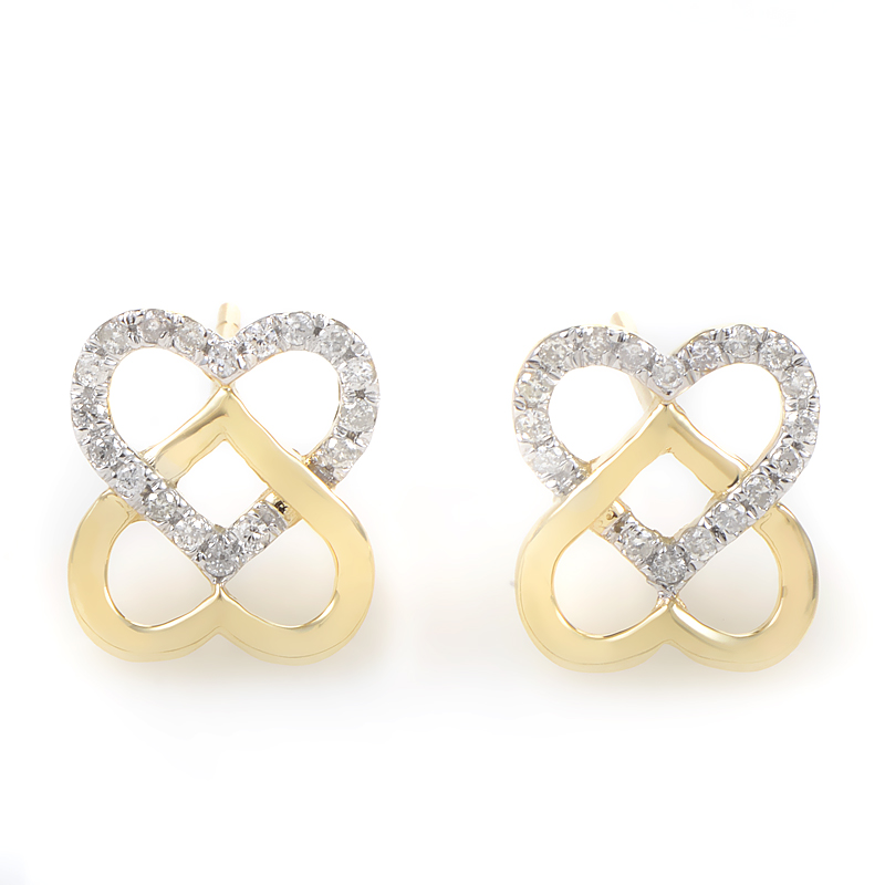 14K Yellow Gold & Diamond Overlapping Heart Earrings E9746Y