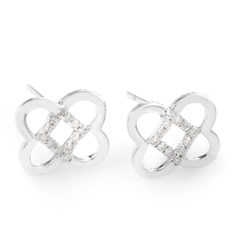 14K White Gold & Diamond Overlapping Heart Earrings E9747W