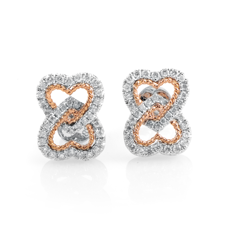 14K Multi-Tone Gold & Diamond Heart Earrings  E9774TT