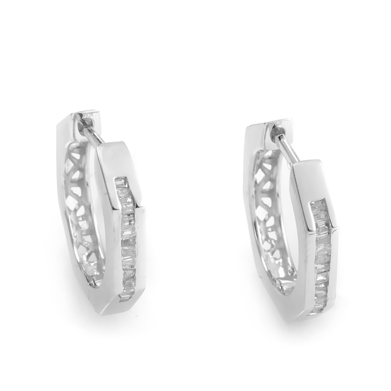 Octagonal 14K White Gold Diamond Hoop Earrings ED-5390W-SP