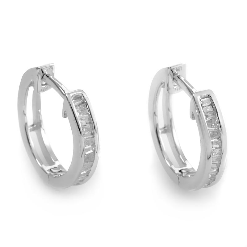14K White Gold Diamond Hoop Earrings ED-7033W-SP
