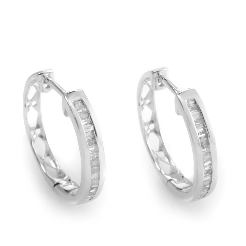 14K White Gold Diamond Hoop Earrings ED-7506W-SP