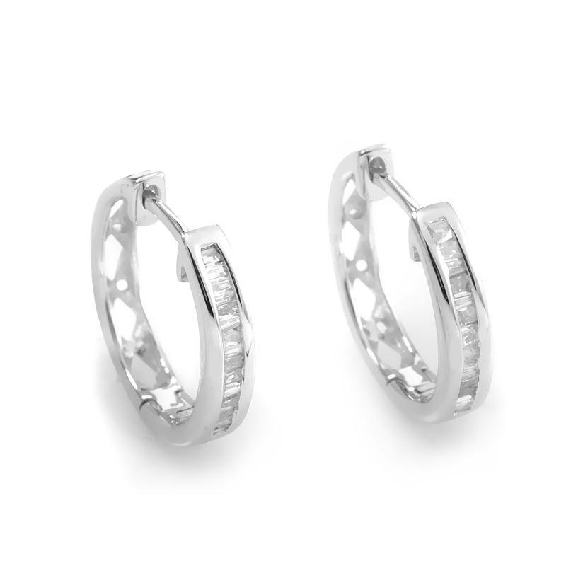 14K White Gold Diamond Hoop Earrings ED-7507W-SP