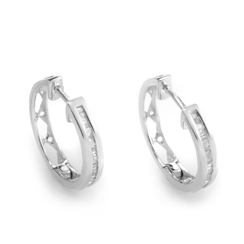 14K White Gold Diamond Hoop Earrings ED-7508W-SP