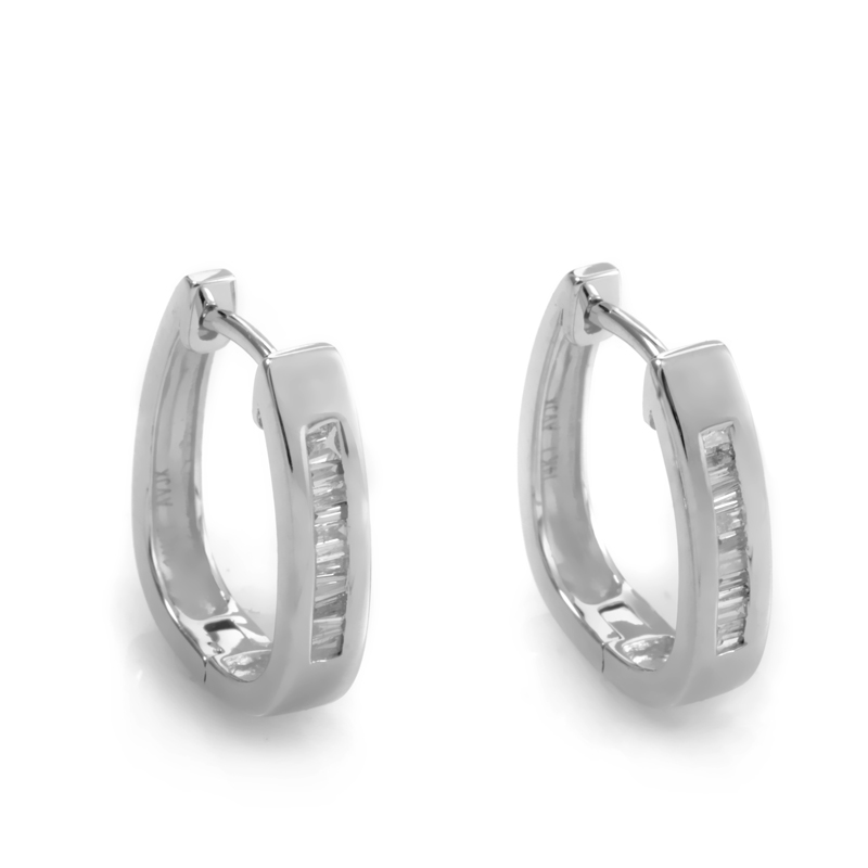 14K White Gold Diamond Hoop Earrings ED-8399W-SP