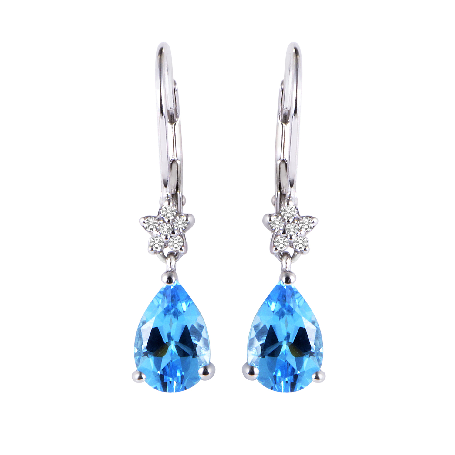 Women's 14K White Gold Diamond & Topaz Dangle Earrings EL4-10046WTB
