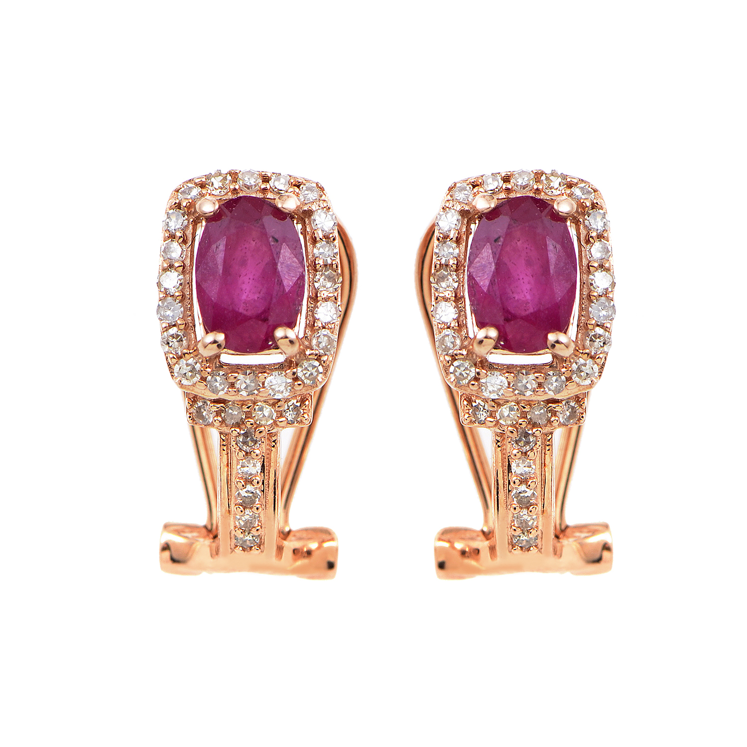 14K Rose Gold Diamond & Ruby Earrings EL4-10054RRU
