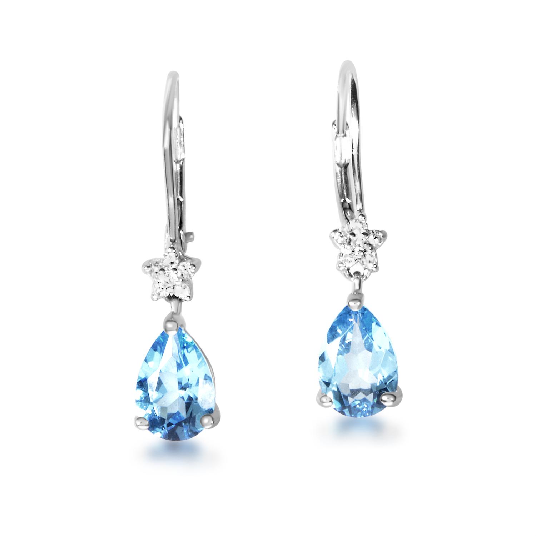 14K White Gold Topaz & Diamond Dangle Earrings EL4-10028WTOP