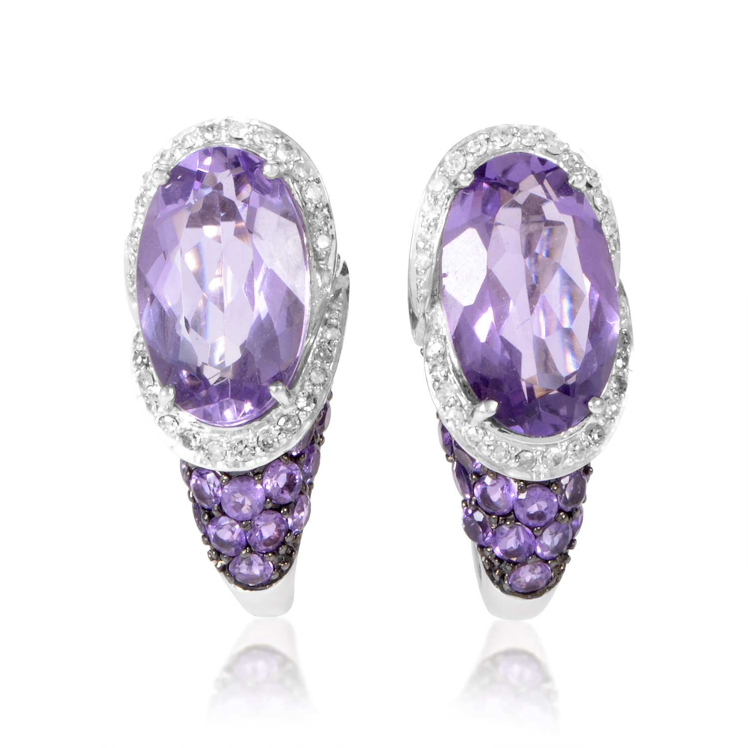 14K White Gold Diamond & Amethyst Huggie Earrings EL4-10030WAM