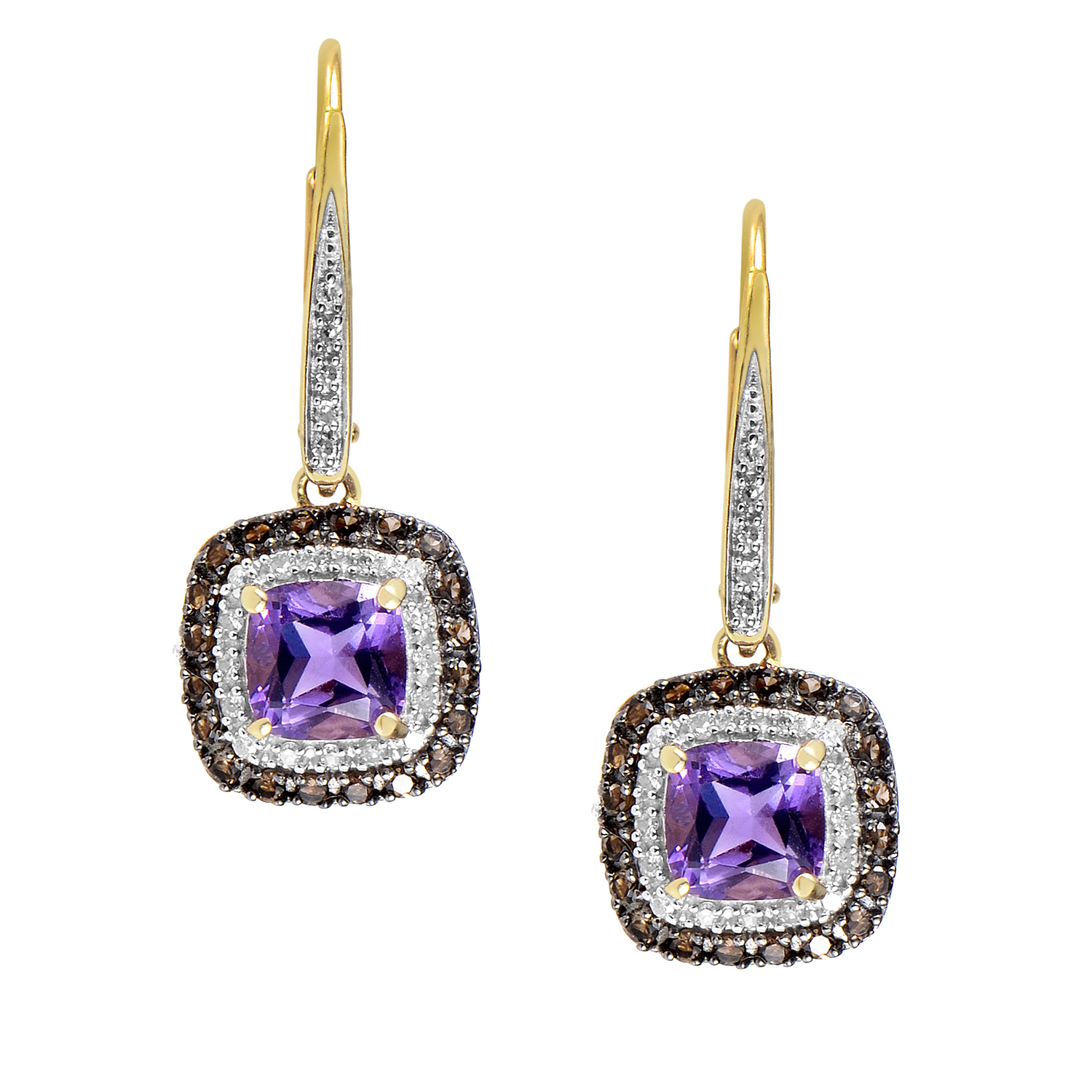 14K Yellow Gold Diamond & Amethyst Dangle Earrings EL4-10036YAM