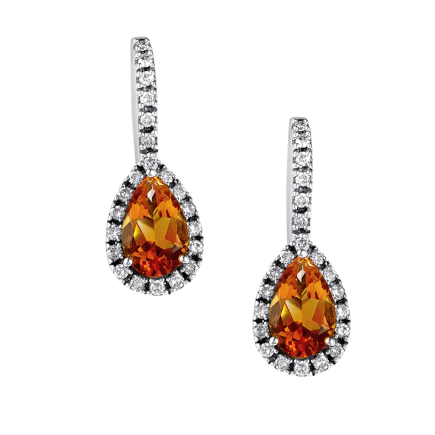 14K White Gold Citrine & Diamond Dangle Earrings EL4-10047WCI