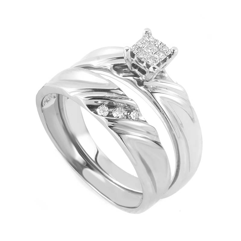 10K White Gold & Diamond Bridal Set EN1-01403W10