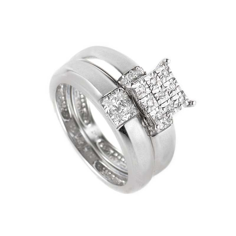 10K White Gold Diamond Bridal Ring Set EN1-01578