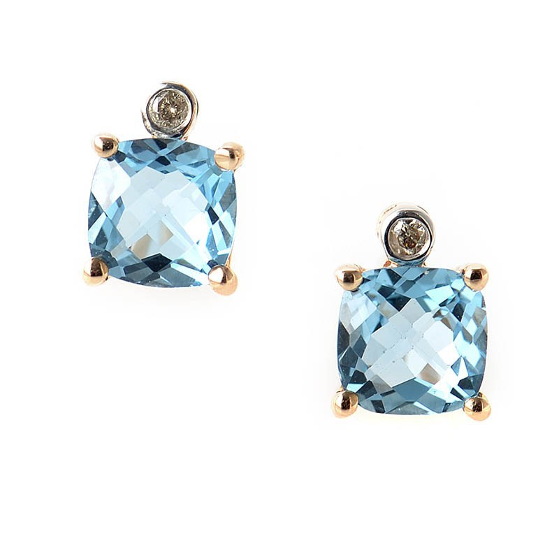 10K Rose Gold Topaz & Diamond Stud Earrings