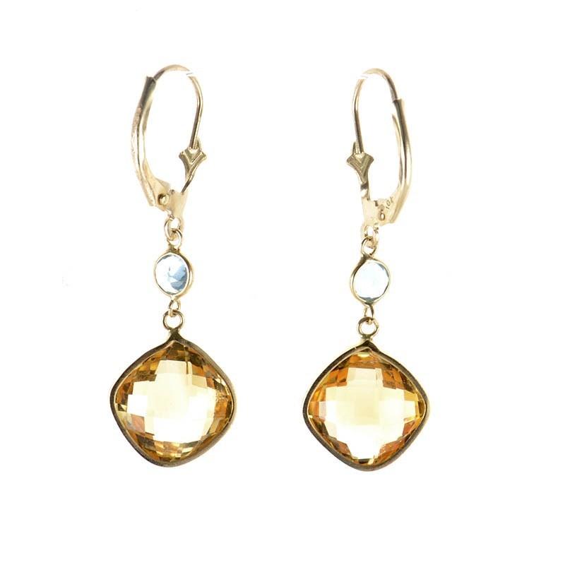 10K Yellow Gold Citrine & Topaz Drop Earrings