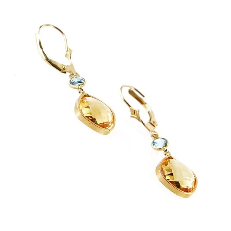 Citrine Drop Earrings Yellow Gold Earrings 10k Yellow Gold
