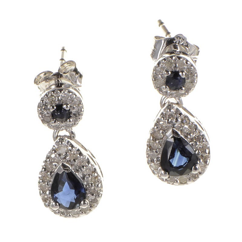 10K White Gold Sapphire & Diamond Drop Earrings