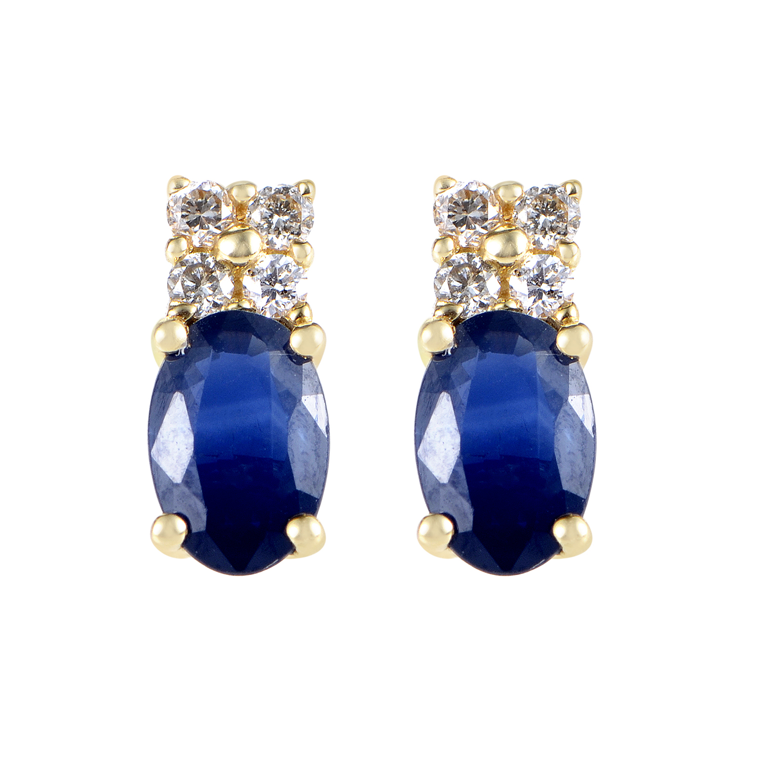 14K Yellow Gold Diamond & Sapphire Stud Earrings ER4-14843YSA
