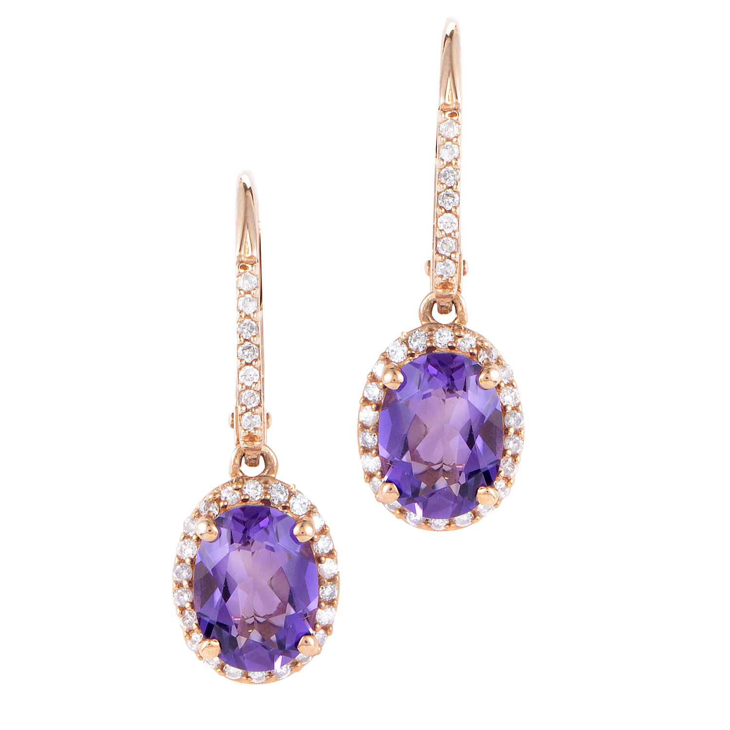 Womens 14K Rose Gold Diamond and Amethyst Dangle Earrings
