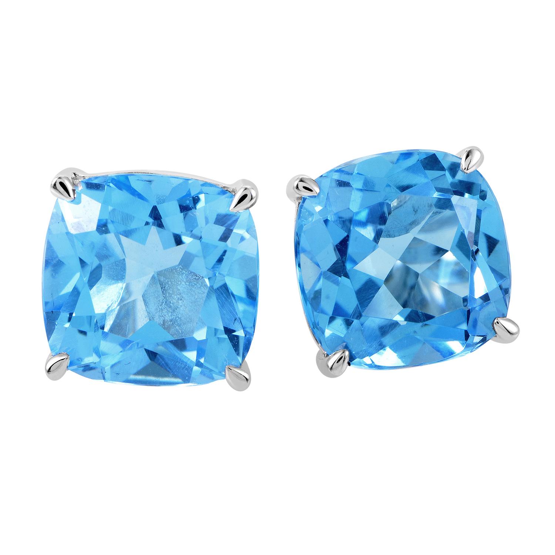Women's 14K White Gold Topaz Cushion Stud Earrings ER4-14850WTB