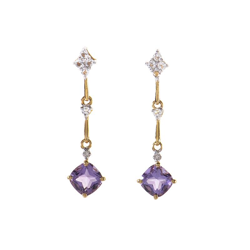 14K Yellow Gold Amethyst & Diamond Drop Earrings ER4-01124YAM