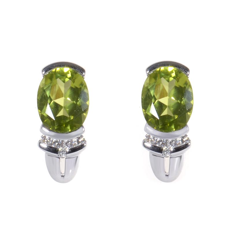 14K White Gold Peridot & Diamond Earrings ER4-01371WPE