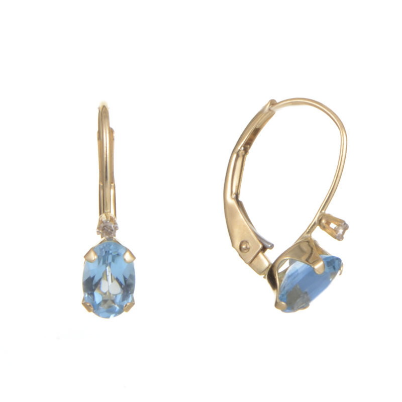 14K Yellow Gold Diamond and Blue Topaz Earrings ER4-0155YTPZ
