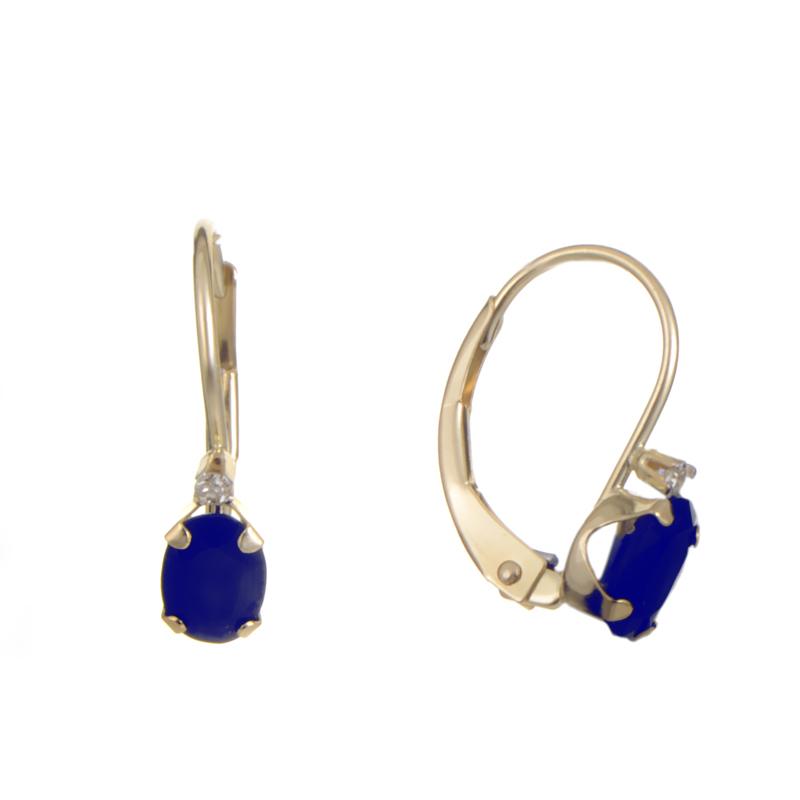 Women's 14K Yellow Gold Diamond & Sapphire Earrings ER4-0184YSA