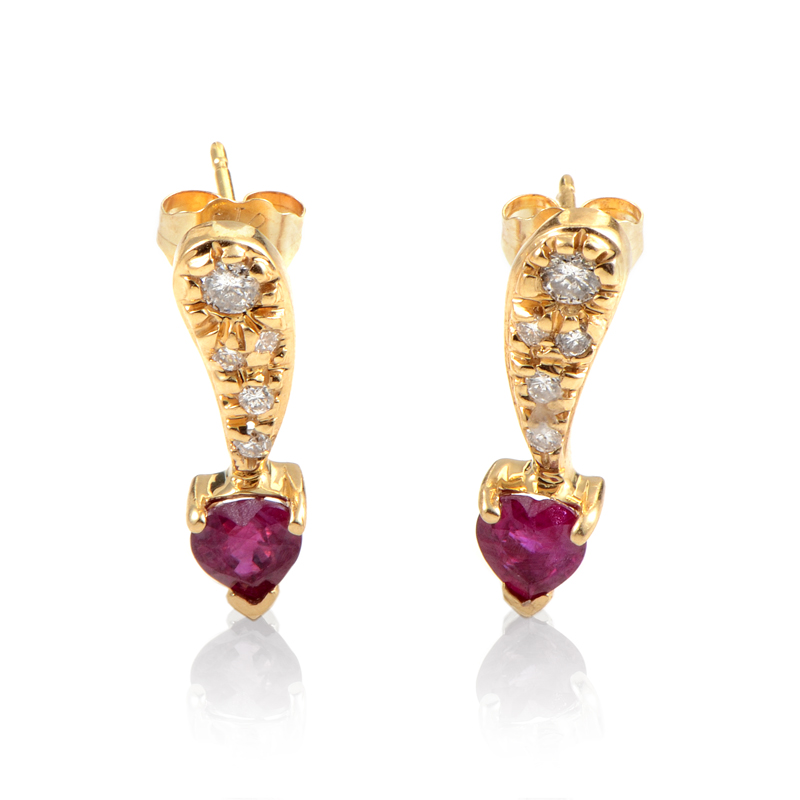 14K Yellow Gold Diamond & Ruby Earrings ER4-02252YRU