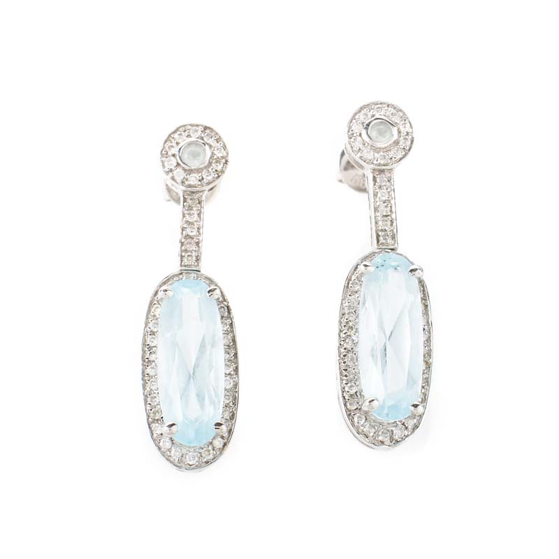 14K White Gold Aquamarine & Diamond Drop Earrings ER4-03428WAQU