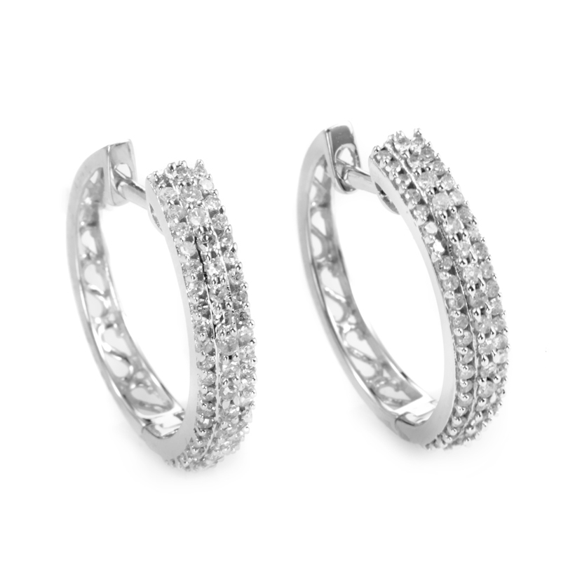 White Gold Filigree Hoop Earrings Earrings 14k White Gold