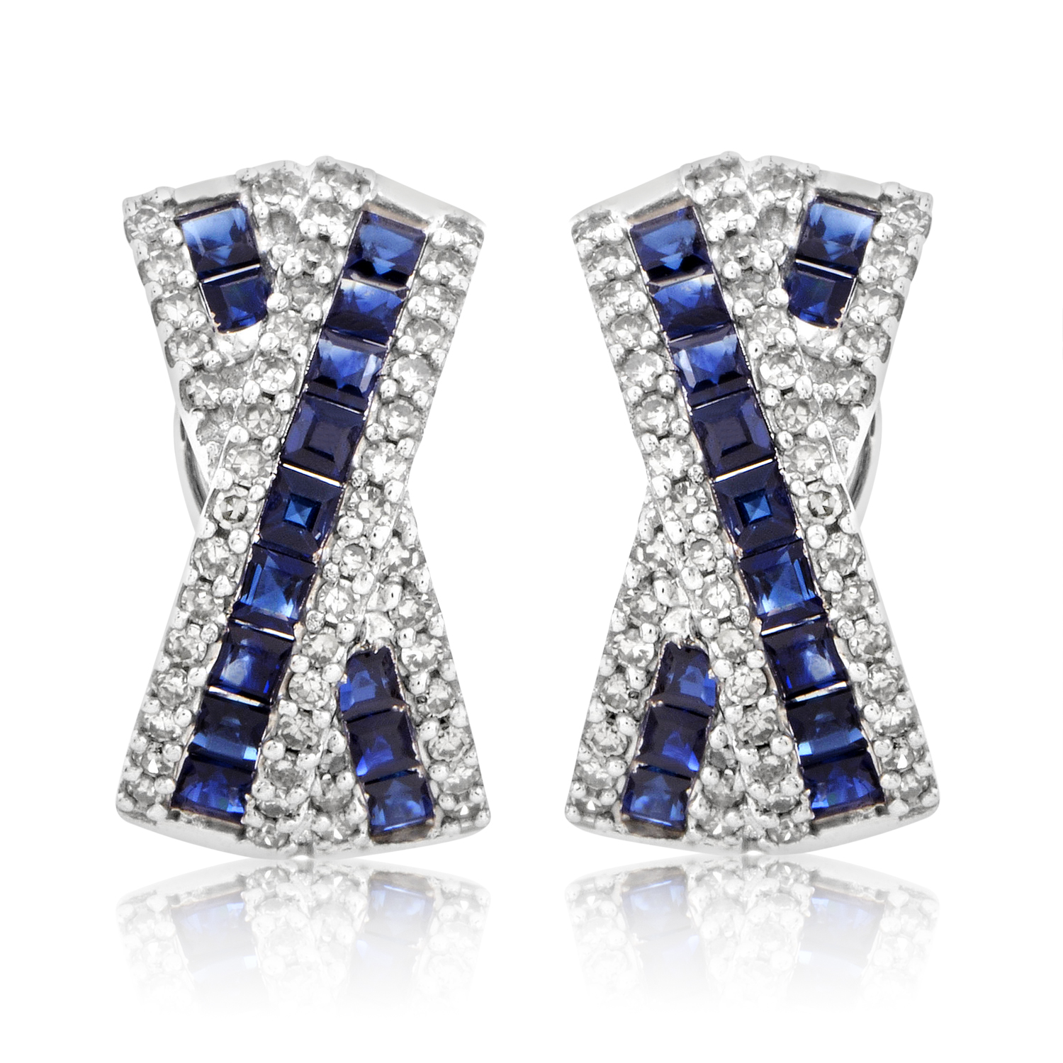 14K White Gold Diamond & Sapphire Huggie Earrings ER4-05676WSA