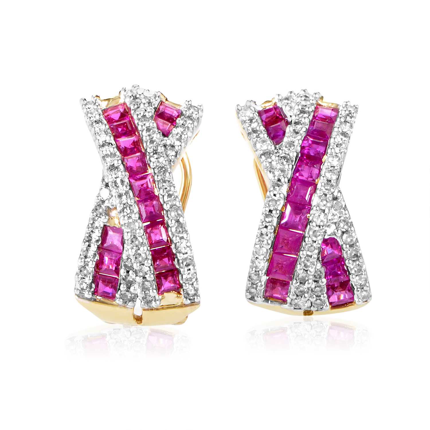 Womens 14K Yellow Gold Diamond and Ruby