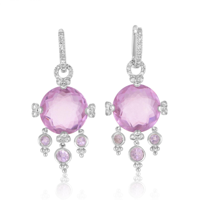 14K White Gold Pink Quartz & Diamond Earrings ER4-061009WTPQTZ