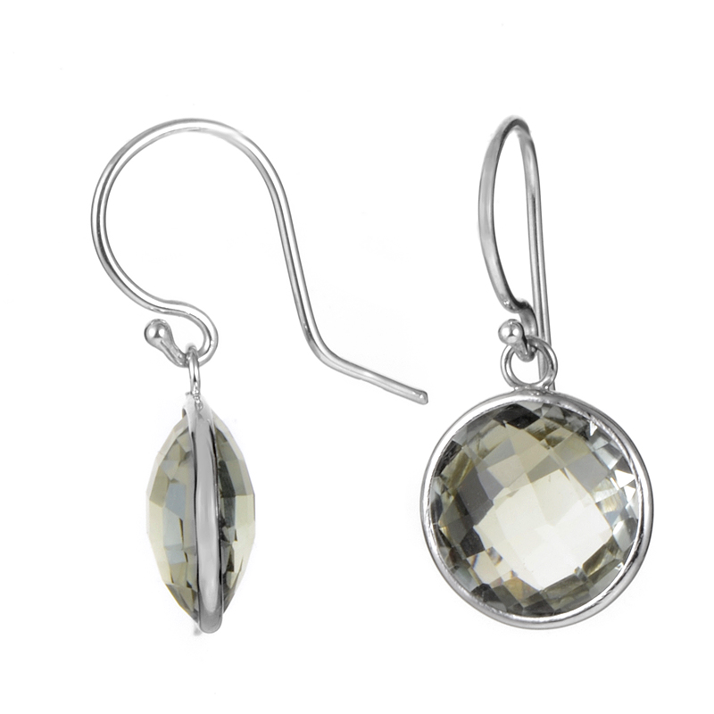 14K White Gold Green Amethyst Dangle Earrings ER4-10001WGAM